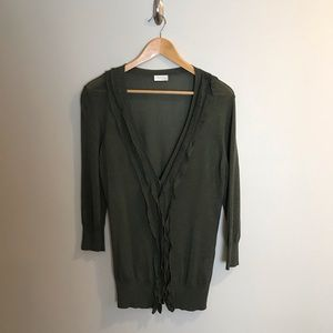 Valentino Italy Dark Green Sweater Cardigan Ruffle